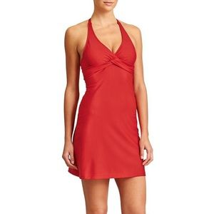 Athleta Red Tara Halter Swim Mini Dress Underwire